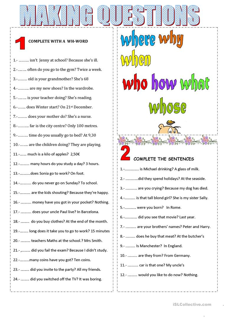 Workbooks making words plural worksheets : 25 FREE ESL making questions worksheets