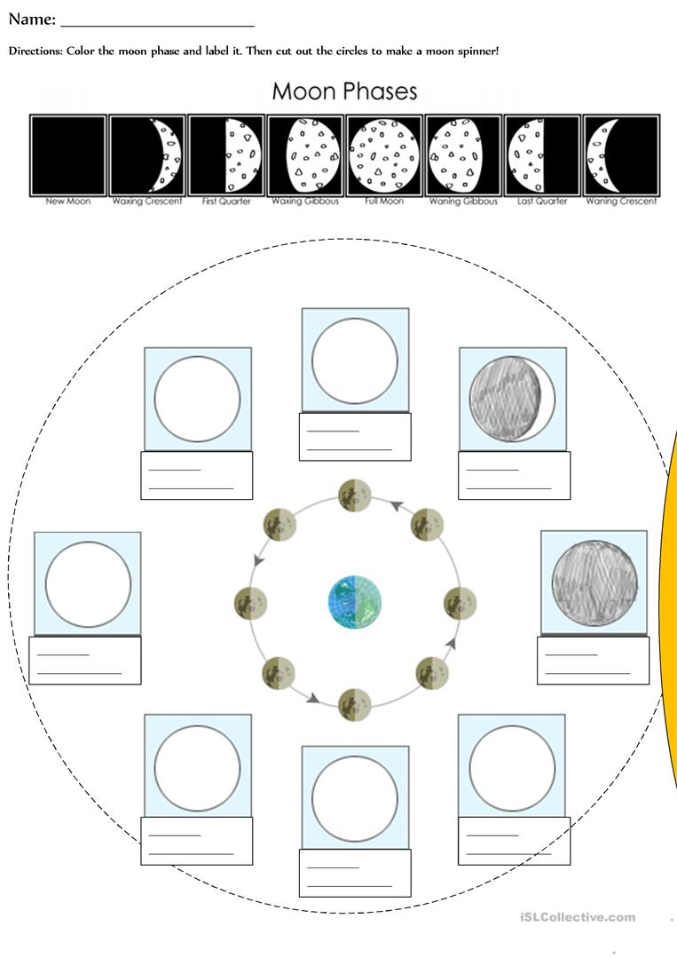 worksheet Moon Phases Worksheets moon phases worksheet free esl printable worksheets made by teachers full screen