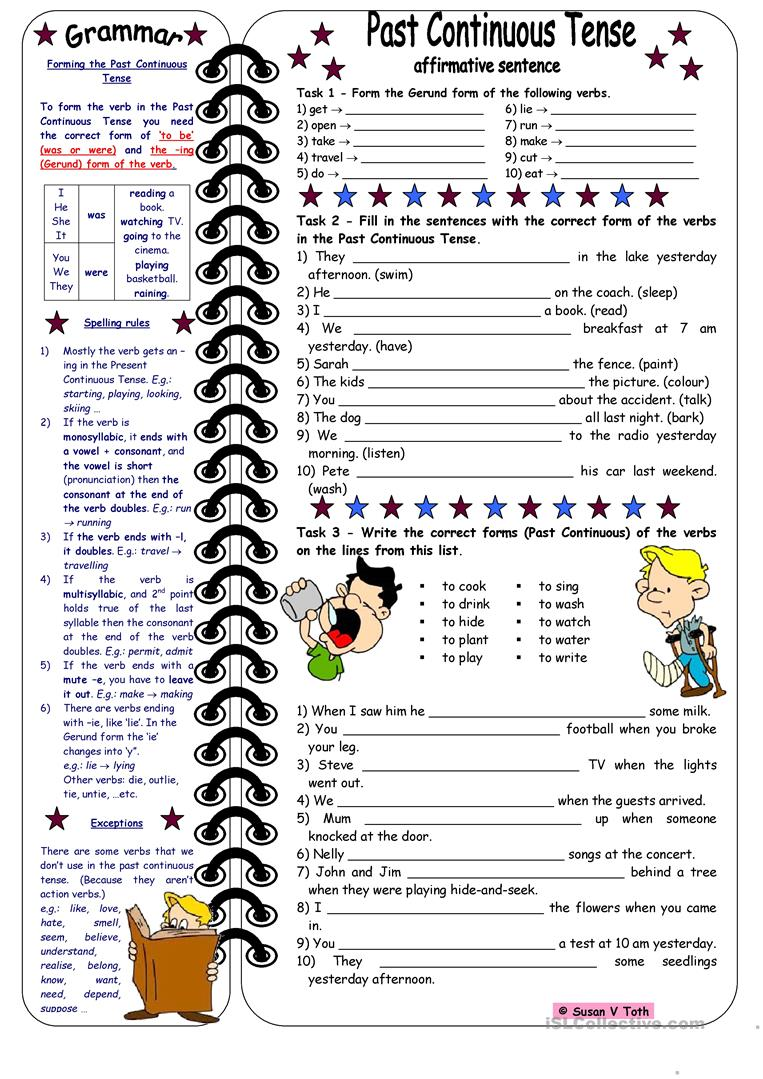 Workbooks past and present tense worksheets : 87 FREE ESL past continuous tense worksheets