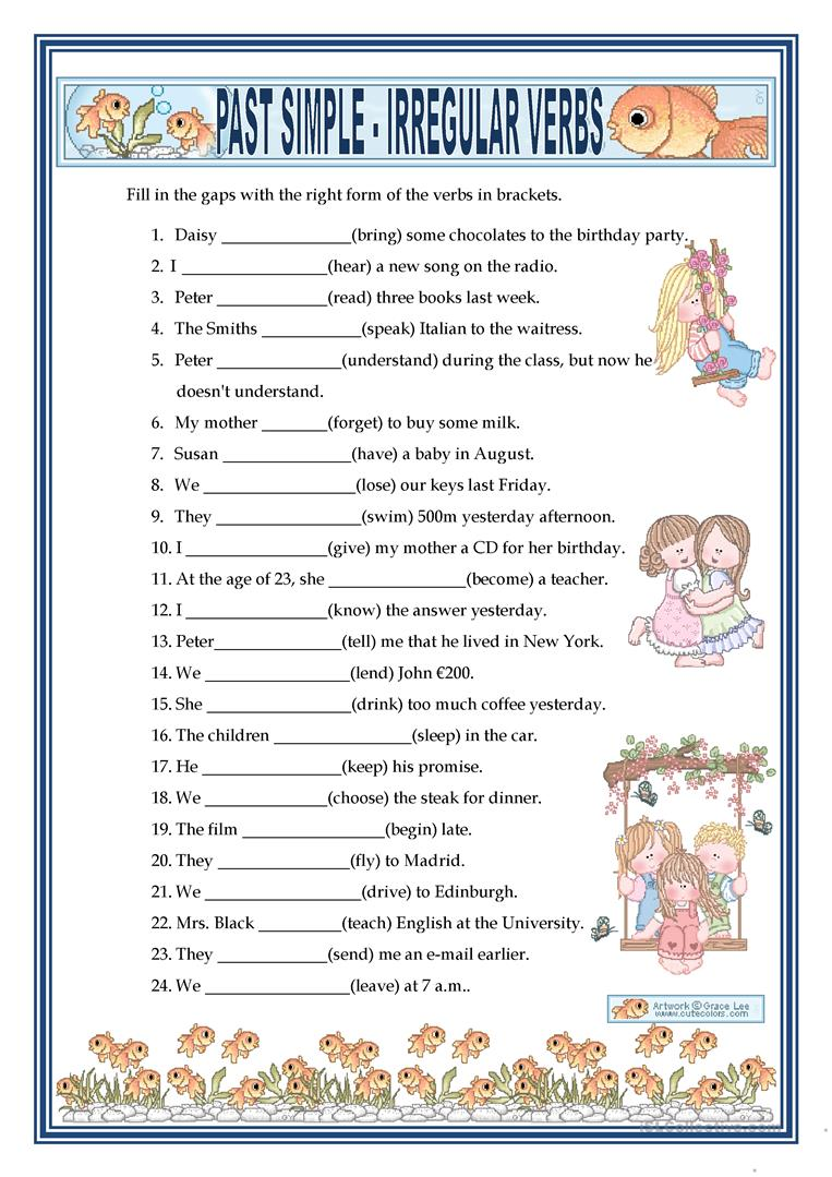 2068 FREE ESL Past simple tense worksheets – Verb Tense Worksheets High School