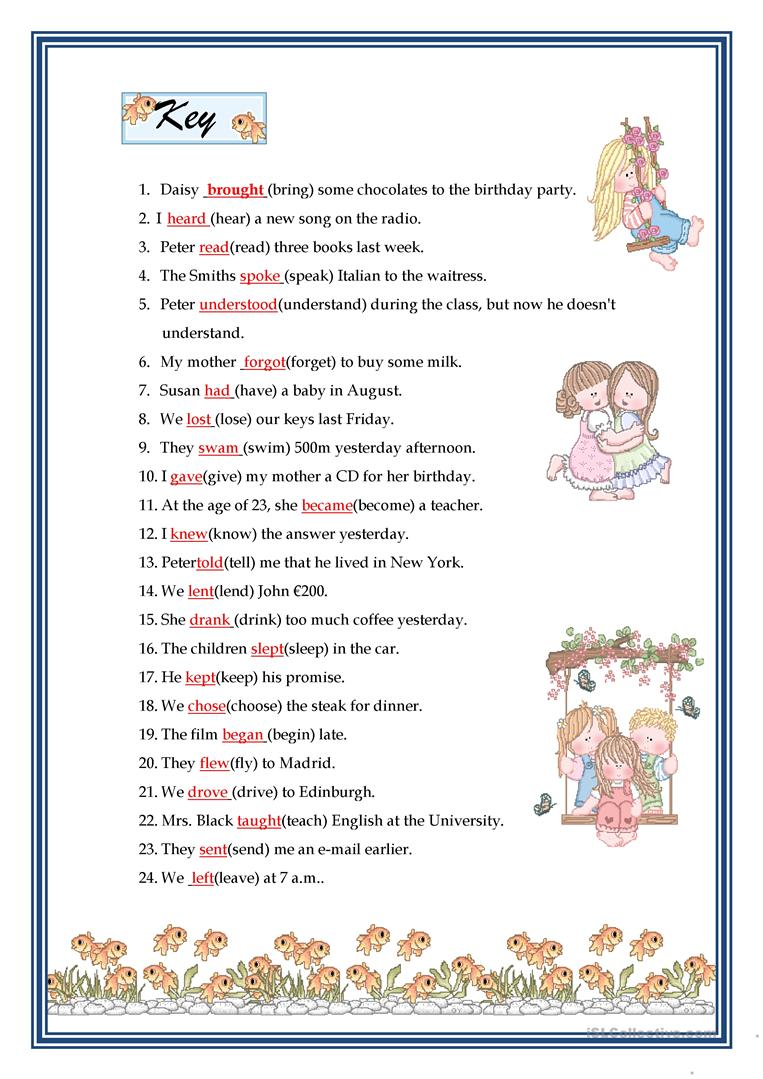 PAST SIMPLE - IRREGULAR VERBS worksheet - Free ESL printable ...
