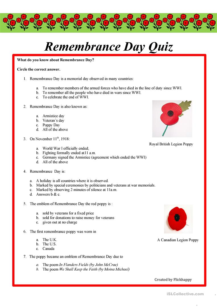 Workbooks quiz worksheets : 9 FREE ESL remembrance day worksheets