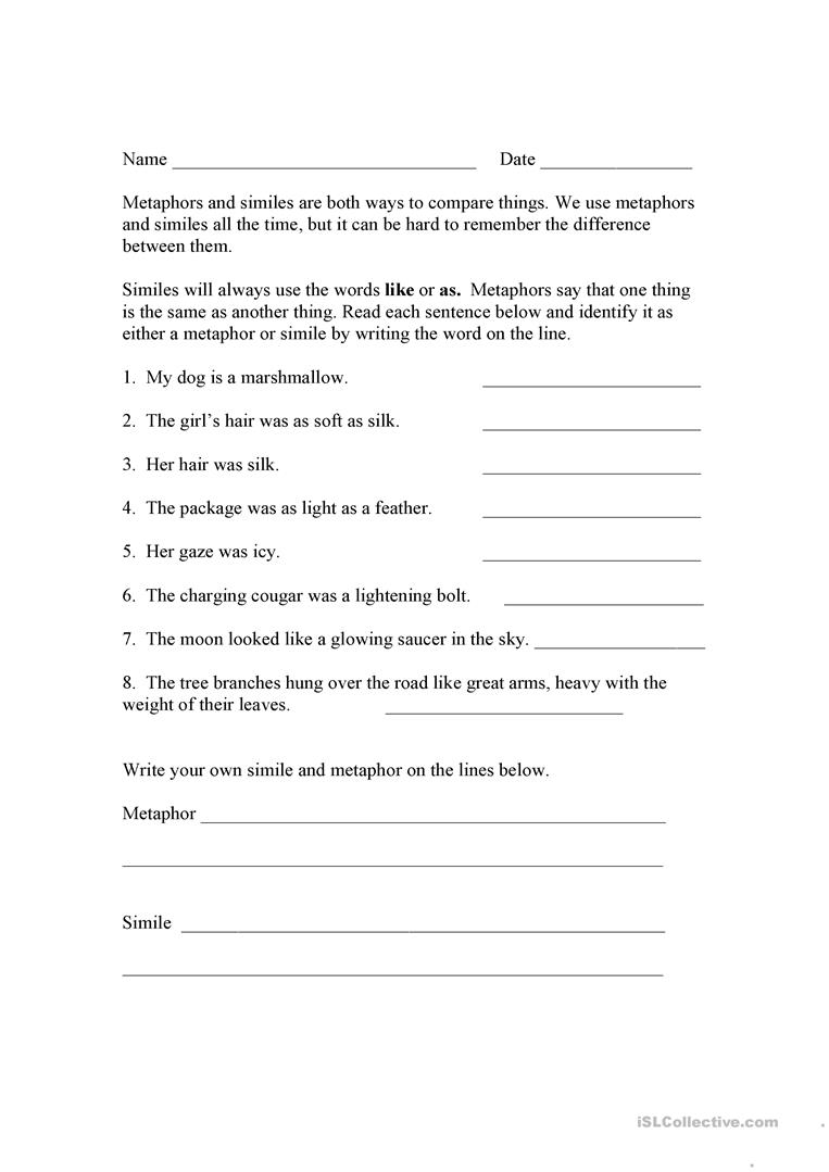 13 FREE ESL metaphor worksheets – Metaphors Worksheet