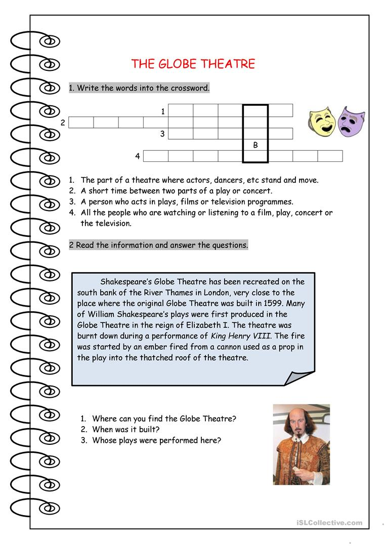 4 FREE ESL Globe Theatre worksheets