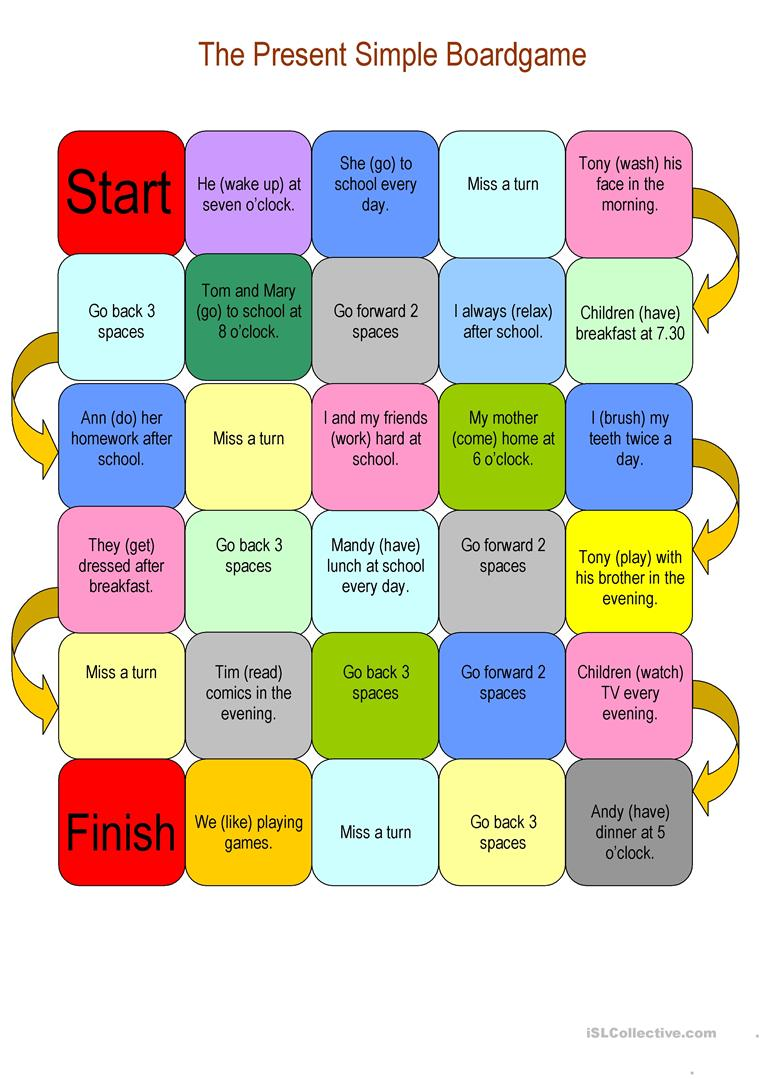 the present simple boardgame  english esl worksheets for