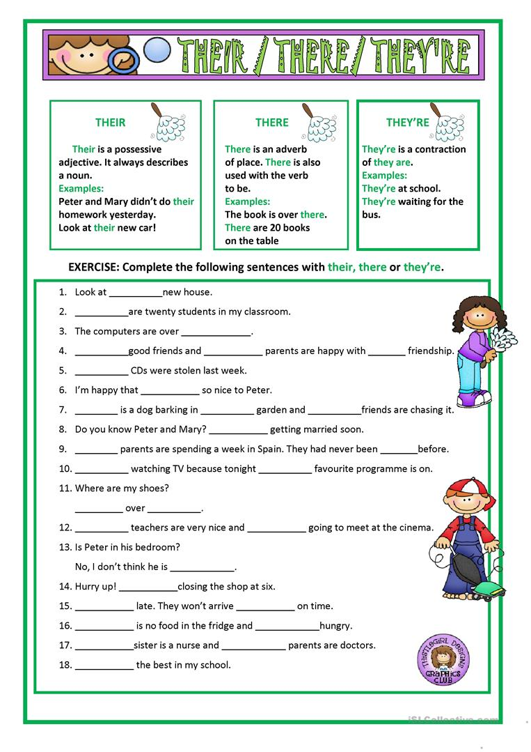 worksheet There Their And They Re Worksheets 7 free esl theyre worksheets their there theyre