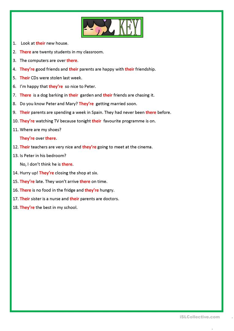 THEIR THERE & THEY RE worksheet Free ESL printable worksheets