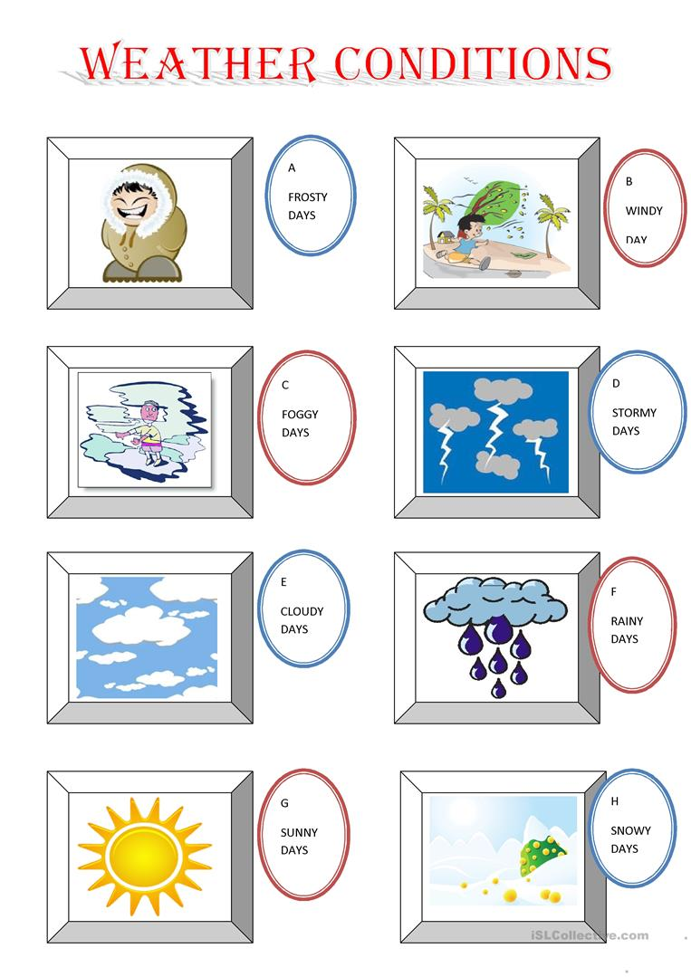 f16eb017b6 WEATHER CONDITIONS worksheet - Free ESL printable worksheets made by ...