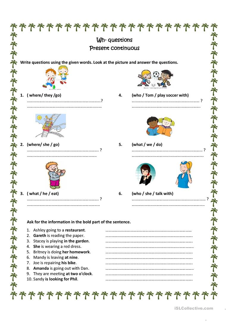 98 FREE ESL present progressive worksheets – Present Progressive Worksheet