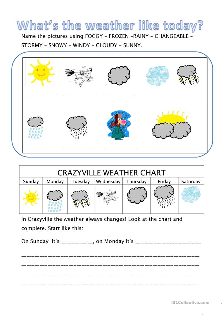 What 39 S The Weather Like Today Worksheet Free Esl