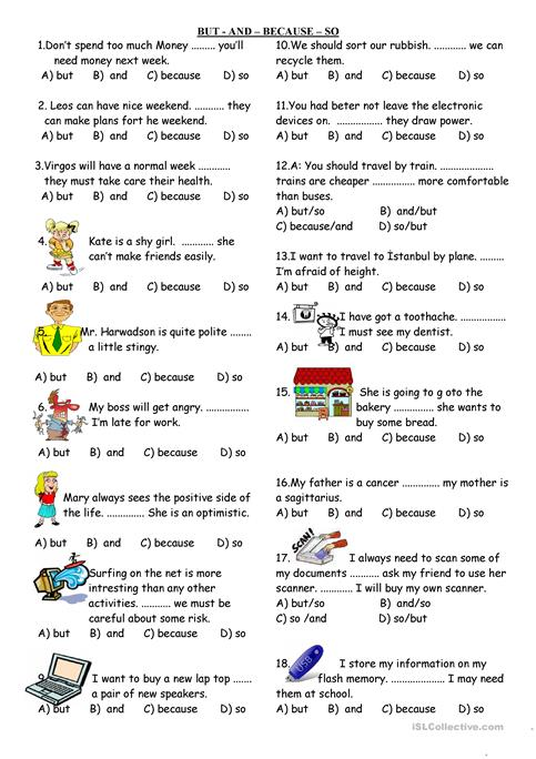 And But Because Worksheet: andbutbecauseso worksheet free esl printable worksheets made by ,