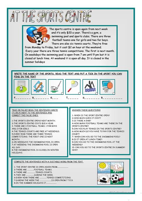 AT THE SPORTS CENTRE worksheet - Free ESL printable worksheets made ...
