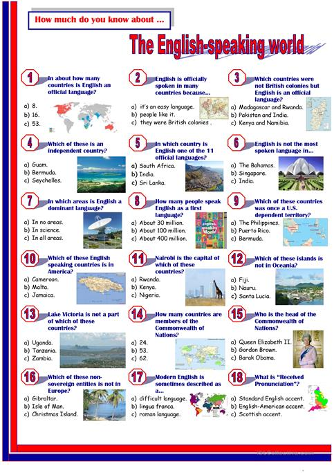 English Speaking World-Quiz - English ESL Worksheets For Distance Learning  And Physical Classrooms