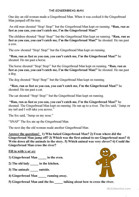 picture regarding The Gingerbread Man Story Printable referred to as gingerbread person worksheet - Cost-free ESL printable worksheets
