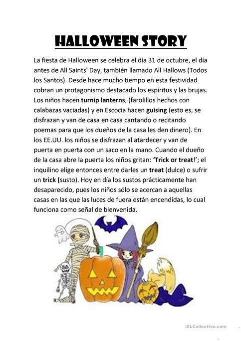 halloween story worksheet - Free ESL printable worksheets made by ...