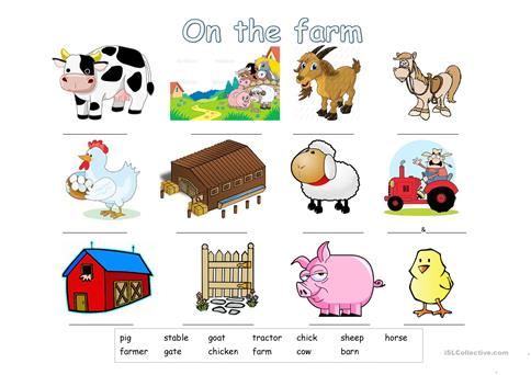 On The Farm Farm Vocabulary For Kids Worksheet Free Esl