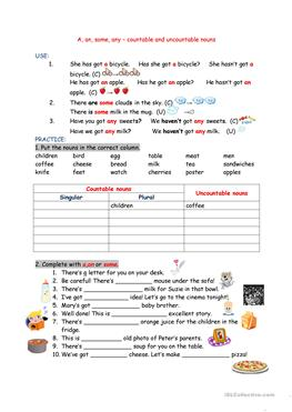 16 FREE ESL some/any worksheets