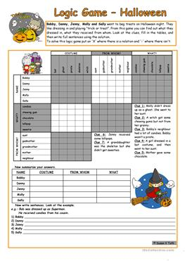logic game 34th halloween elementary with key with bw - Esl Halloween Games