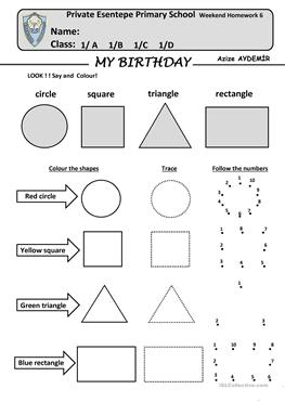 120 Free Esl Shapes Worksheets