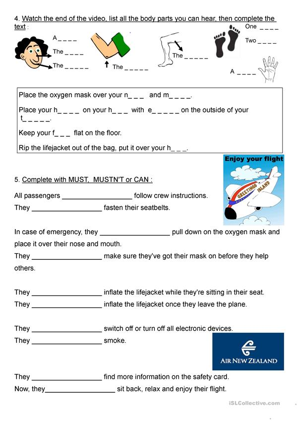 A Funny Video About Flight Safety Rules Worksheet Free Esl