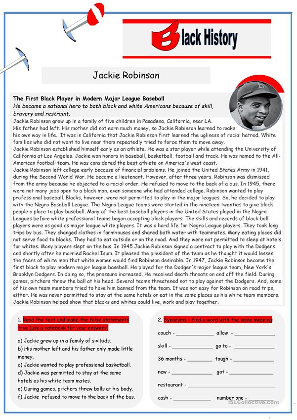 Black History: Jackie Robinson (2 pages)