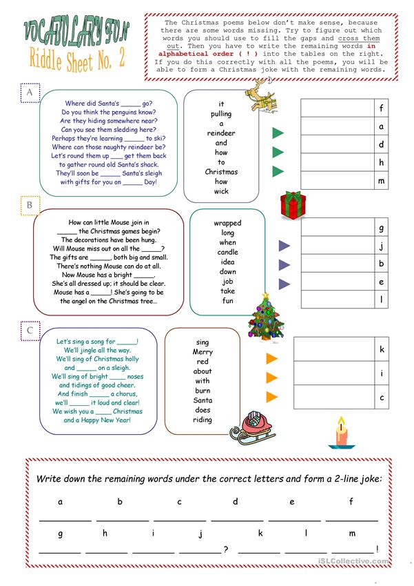 Christmas Riddle Sheet