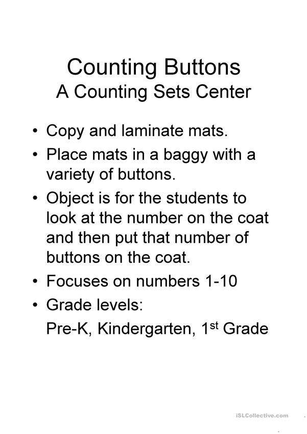 Coat Buttons Counting Sets Center