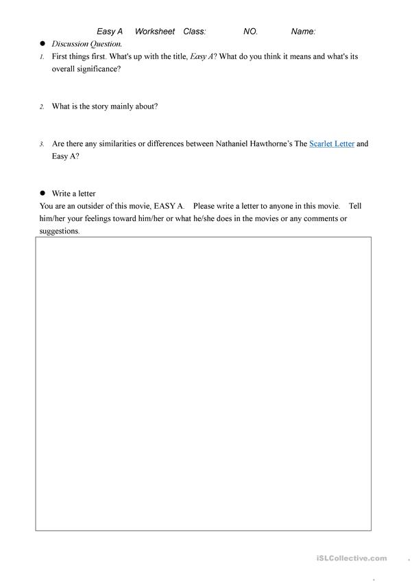 Easy A worksheet