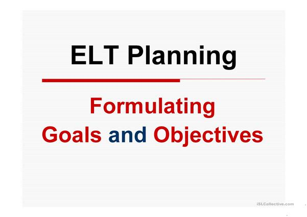 ESP Goals and Objectives