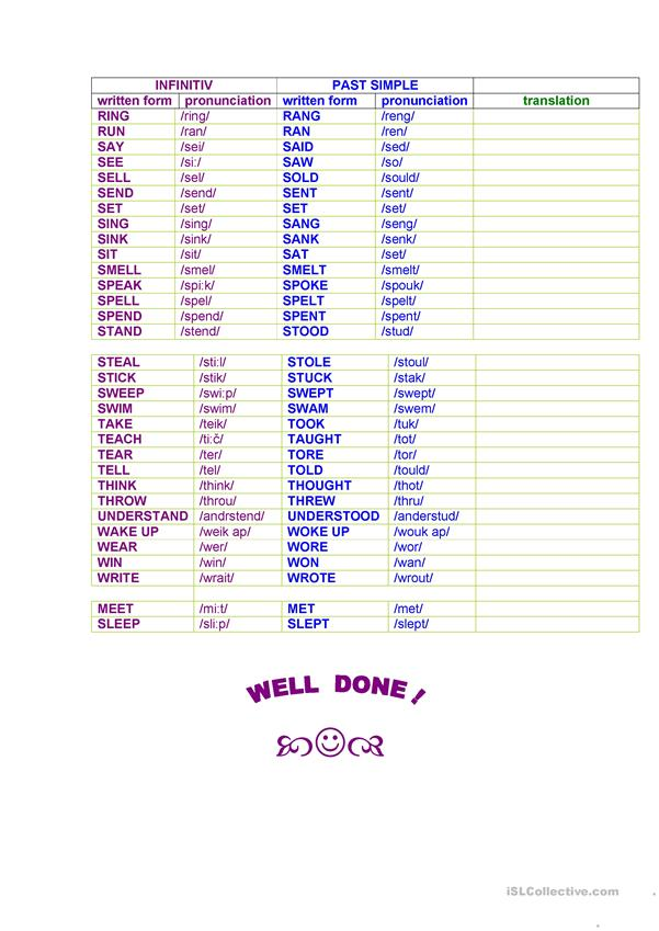 IRREGULAR VERBS in the past simple form