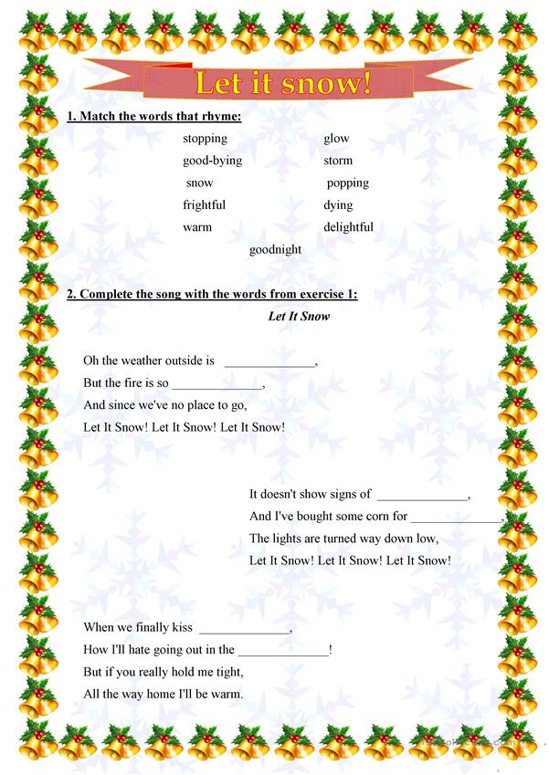 Let it snow (Song) Work sheet