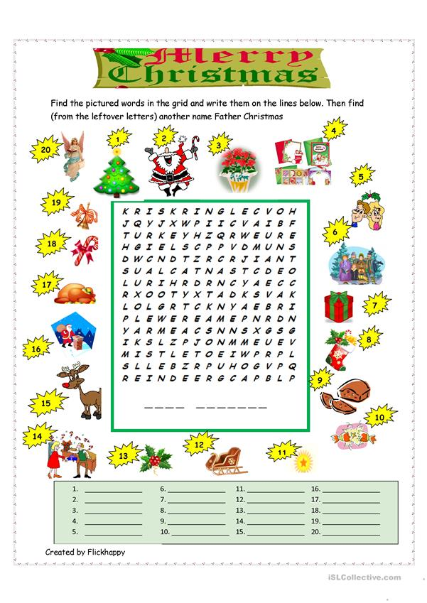 Merry Christmas Wordsearch