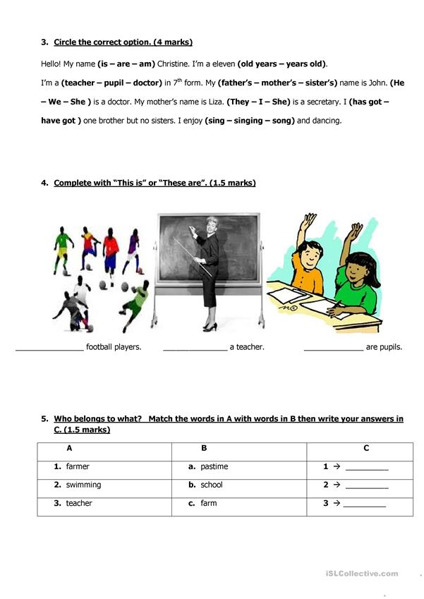 Mid-term test 1for 7 graders