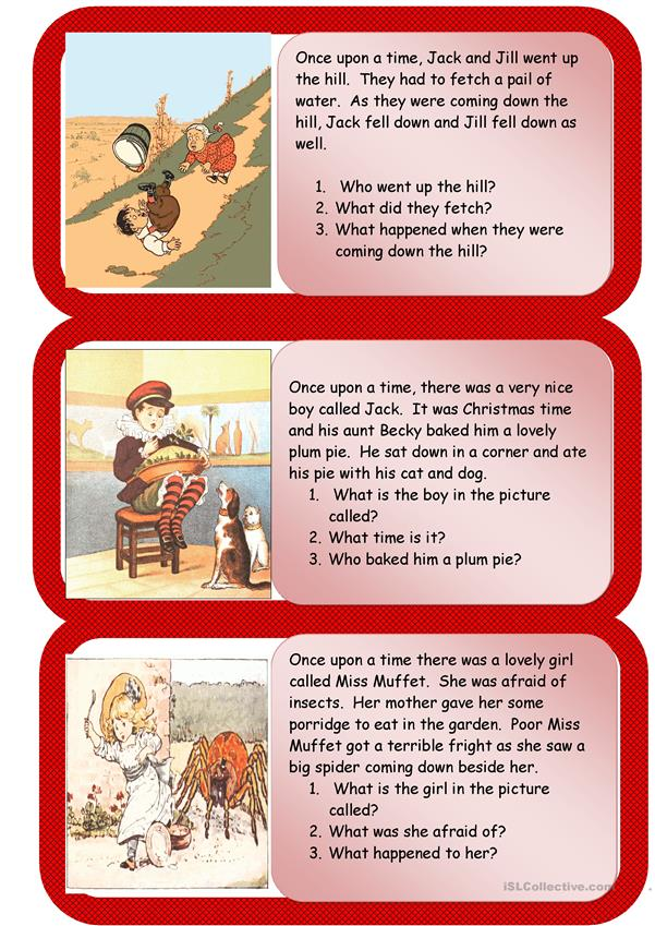 NURSERY RHYMES MINI COMPREHENSIONS