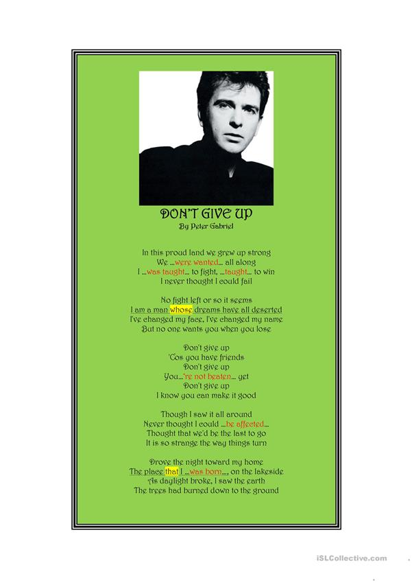 Passive Voice with Peter Gabriel's Don't Give Up