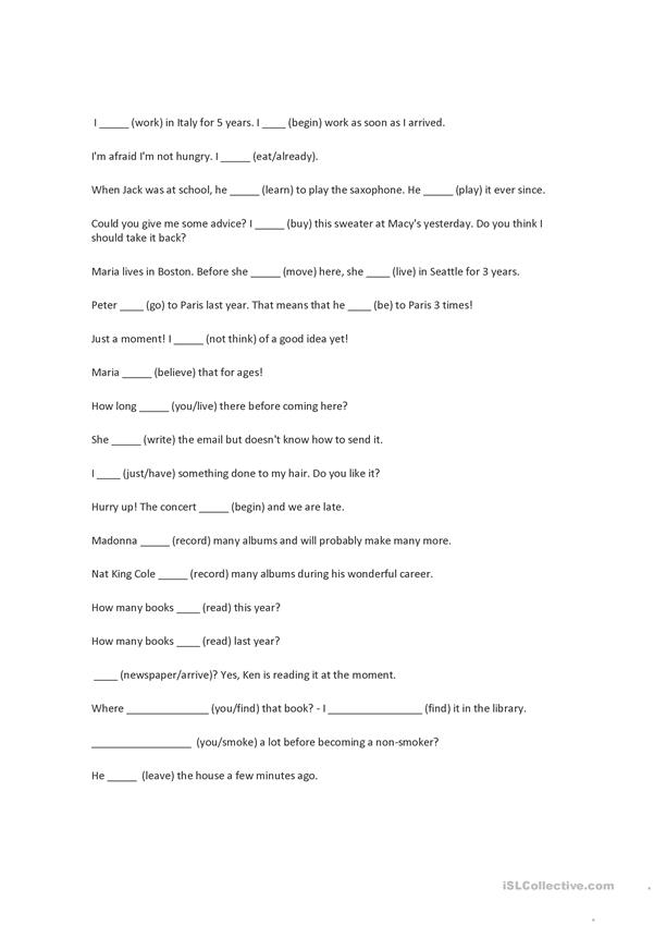 Present perfect v/s past simple worksheet