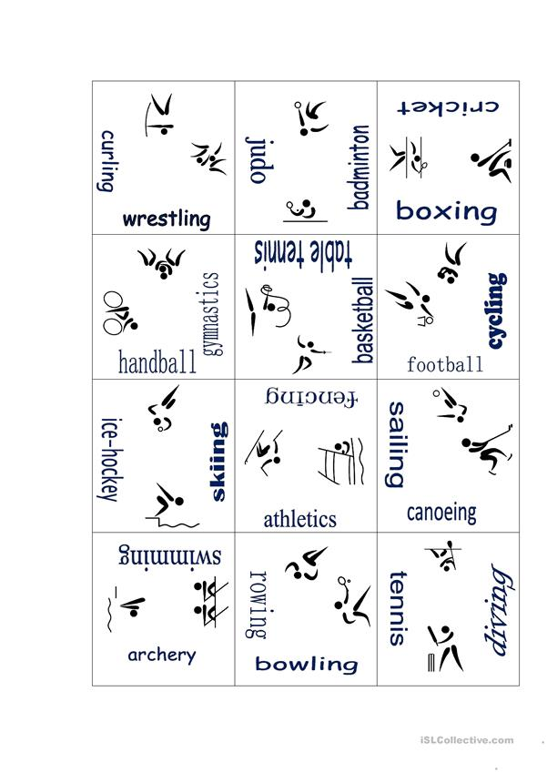 Sports puzzle with pictograms