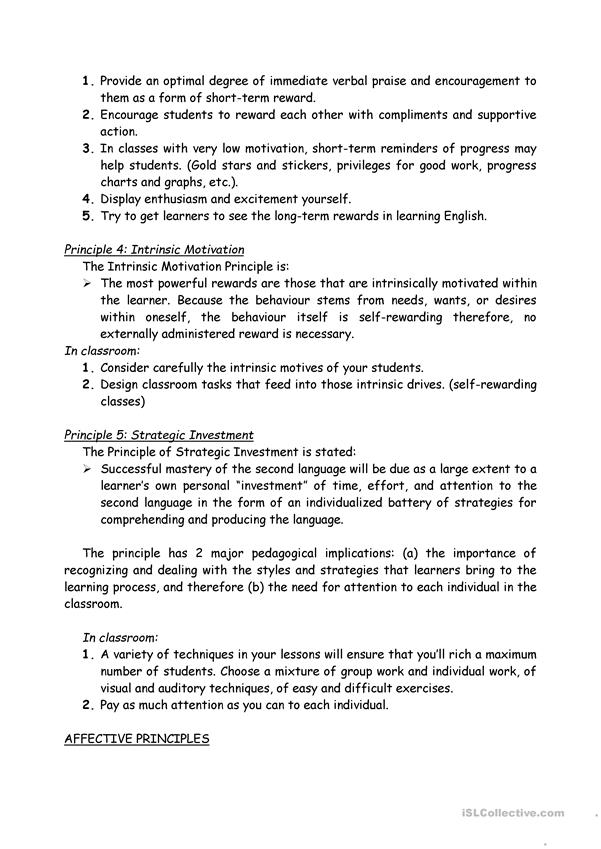 Summary on Teaching by Principles (Brown)