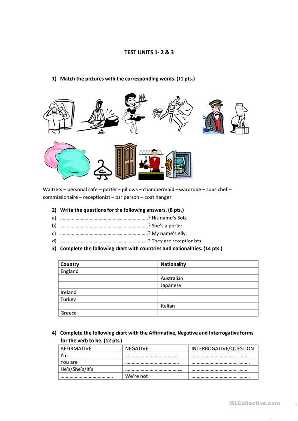 Test for students of English for the hotel industry