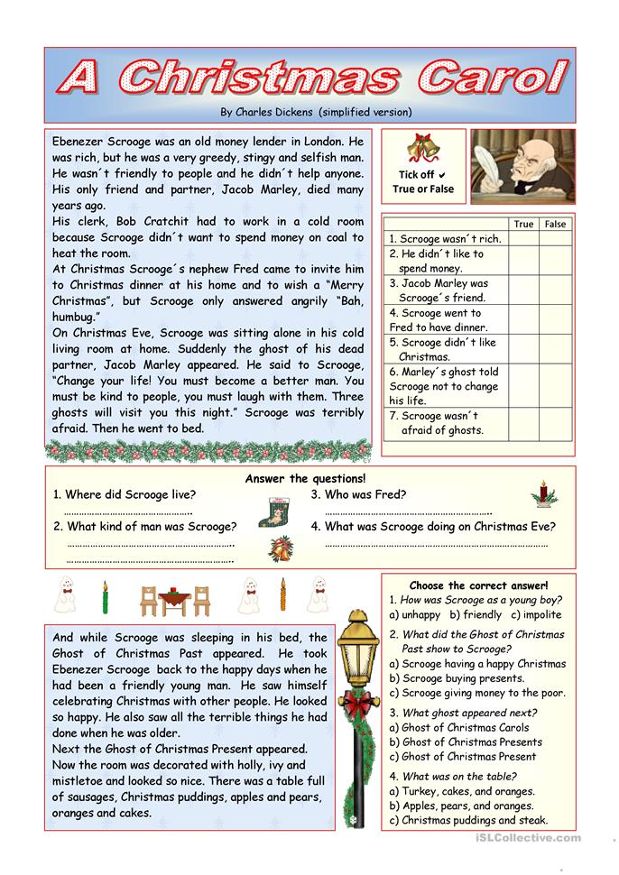 """A Christmas Carol"" - simplified version (KEY included) - ESL worksheets"