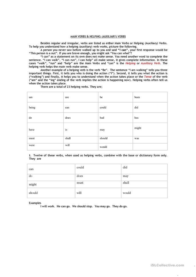 All Worksheets Main And Auxiliary Verbs Worksheets Free – Main and Helping Verbs Worksheets