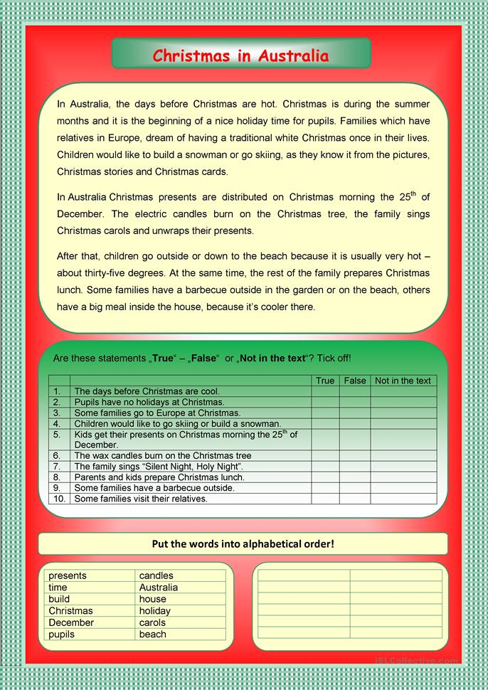 Christmas in Australia worksheet - Free ESL printable worksheets ...