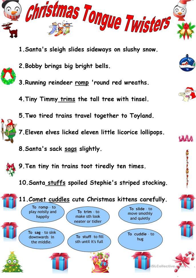 Christmas tongue twisters. - ESL worksheets
