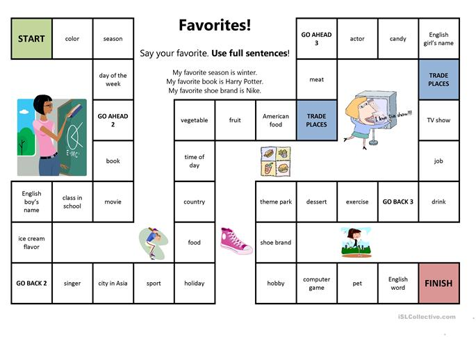 favorites board game worksheet free esl printable worksheets made by teachers. Black Bedroom Furniture Sets. Home Design Ideas