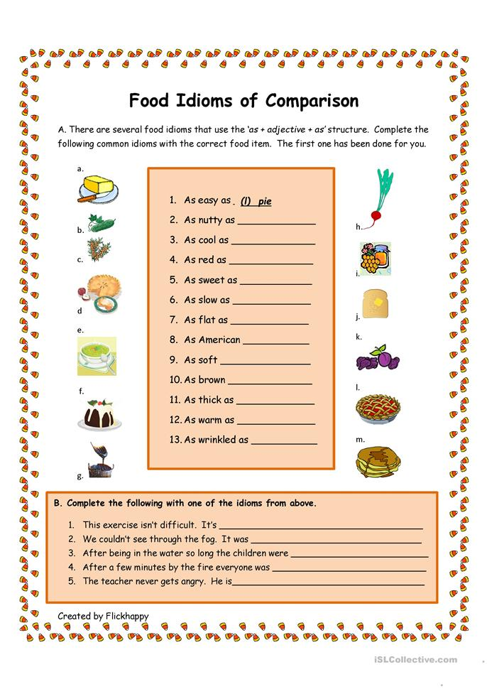 Worksheets Worksheet Idioms Food 21 free esl food idioms worksheets