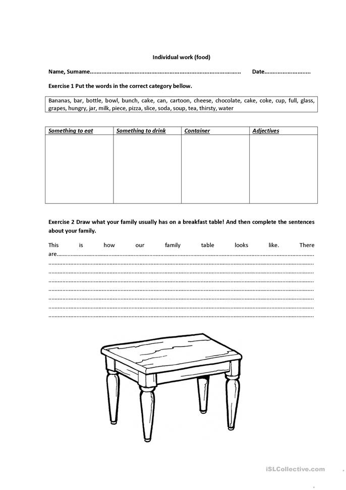 Food - ESL worksheets