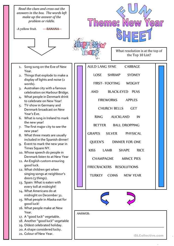 Fun Sheet Theme: New Year - ESL worksheets