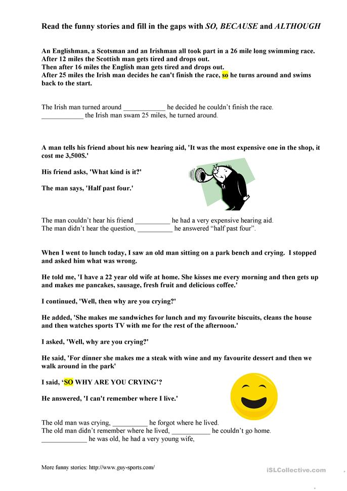Funny stories- so, because, although - ESL worksheets