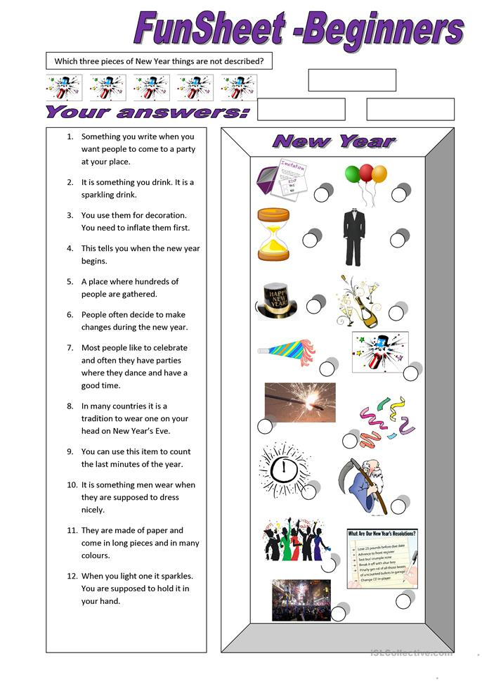FunSheet for Beginners: New Year - ESL worksheets