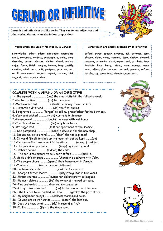 GERUND OR INFINITIVE - ESL worksheets